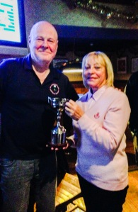 Capt. Simpson presents Elaine Jewson with the Dave McNicoll Cup
